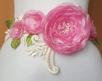 Bridal Belt, Bridal Sash, Wedding Sash, Wedding Belt Flower Sash Belt
