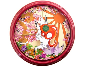 Okami - 3D Wall Clock - Video Game Decor - Video Game Wall Art - Gamer Gift - Gamer Decor - Geek Gift - Okami Wall Art - Wall Art