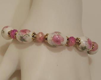 Pink Flower Ceramic Bead Bracelet, Free shipping