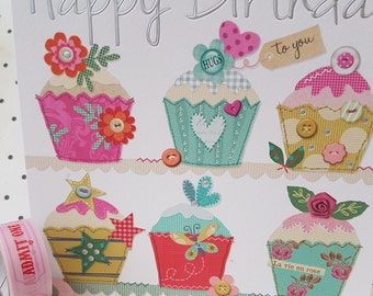 Cup Cakes Happy Birthday La vie en rose  card, Happy Birthday hugs to you pretty bright cup cake printed and foiled card