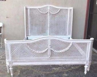 French Cane Bed Frame ,French Cottage Chic,Queen, Country Farmhouse, White, Mid Century
