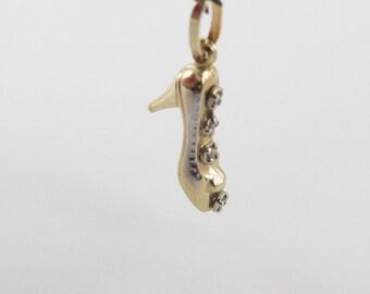 14 Yellow Gold High Hill Shoe Diamond Charm Pendant - Yellow Gold Shoe Charm