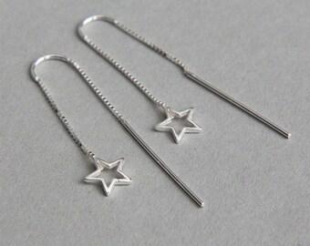 Star threader earrings, Star threaders, Ear threaders, Tiny Star Earrings, Sterling Silver Star Earrings, Long Earrings, Minimalist Earrings