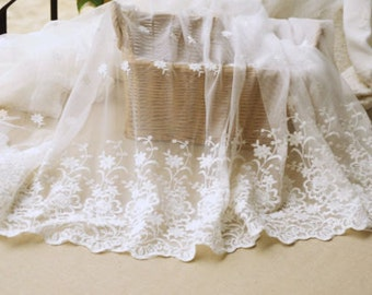 1 Yard Ivory Floral Lace Fabric Bilateral Embroidered Tulle Fabric Wedding Dress