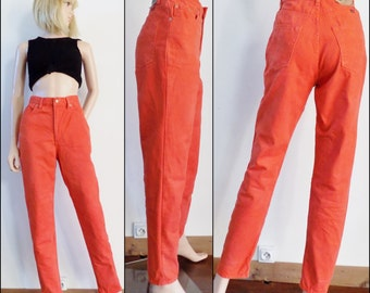 Orange high waist tapered leg jeans womens retro vintage orange jeans size 29 inch waist