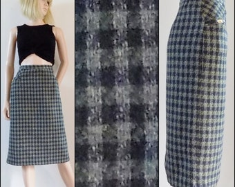 Green grey plaid pencil skirt France Rivoire check wool silk midi skirt size 31 inch waist