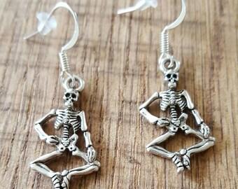 skeleton earrings, emo earrings, gift for her, Skeleton jewelry, valentines gift, birthday gift, goth earrings, goth jewelry, emo earrings
