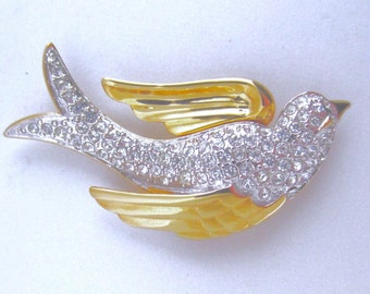 LOVELY Nolan Miller signed crystal DOVE pin brooch in gold tone metal ~pretty, vintage costume jewelry