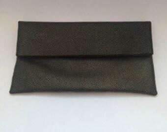 WALKER LEATHER Foldover CLUTCH - Bronze Metallic