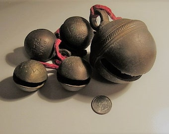 Vintage Brass Sleigh Bells - India - One very large (#2)