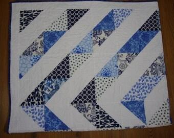 Blue and white quilt scrappy quilt spiral quilt throw quilt crib quilt