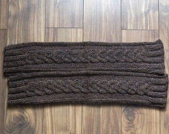 "Hand Knitted Leg Warmers for Women. ""Coffee Brown"" color. Acrylic. Size M."