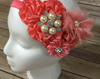 Coral over the top flower headband