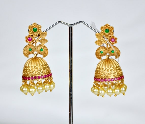 Antique nagas Jhumkis in red and green with pearls | Indian Jewelry | Indian Earrings | temple jewelry temple jhumkis