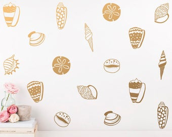 seashell wall decal etsy sea shell set wall stickers beach wall art