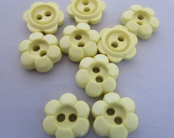 15mm Lemon Daisy Flower Buttons