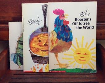3 Eric Carle paperbacks, Rooster's Off to See the World, Pancakes, Pancakes! and The Hungy Caterpillar