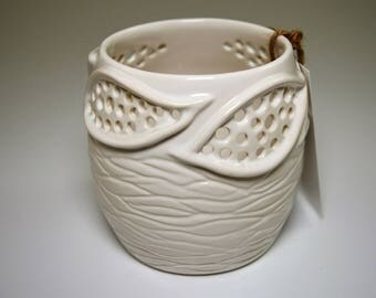 Handmade Porcelain Candle Holder in glossy white glaze - Leaf design - perfect for your favorite votive or tea light candles