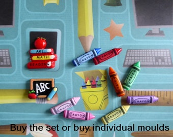 Crayons School Books ABC Blackboard Silicone Mold Cake Tool Fondant Chocolate Candy Topper Polymer Clay DIY Craft