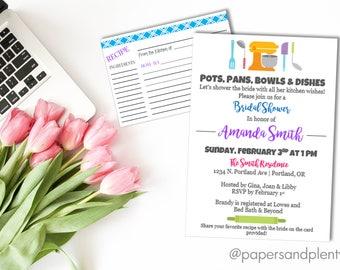 """Kitchen Bridal Shower Invitation   """"Pots, Pans, Bowls & Dishes"""" Kitchen Wishes Invite   Future Mrs. Bridal Shower - Printable File"""