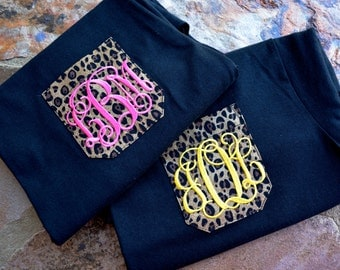 monogram pocket tee,personalized pocket shirt,monogram tshirt,black and hot pink monogram,cheetah pocket shirt,yellow monogram