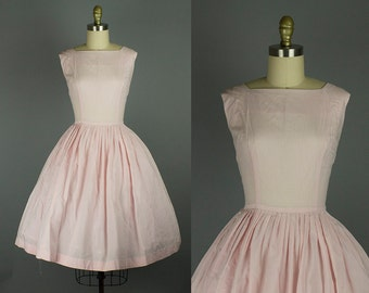 1950s pink cotton dress/ 50s sundress/ medium