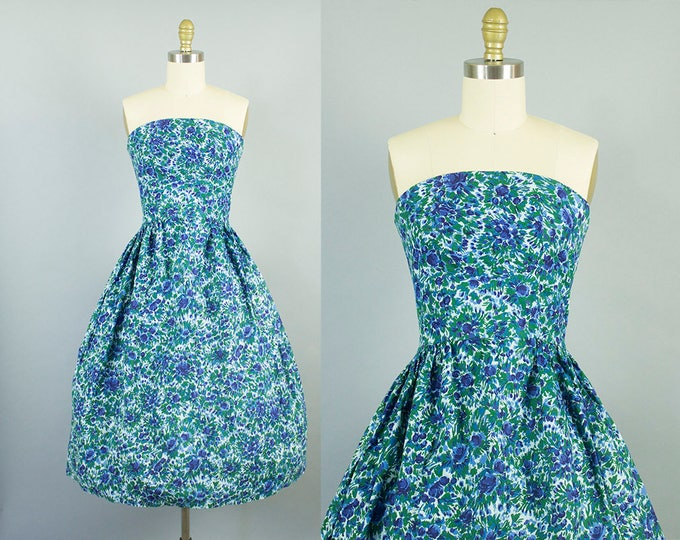 1950s strapless floral dress/ 50s shelf bust blue sundress/ small