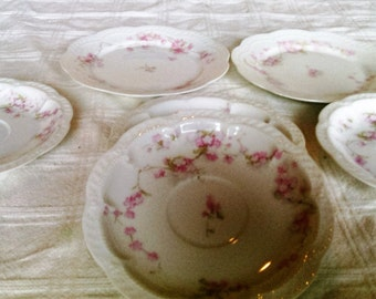 Antique Vintage Theodore Haviland Limoges France Dessert Plates and Saucers With Pink Flowers