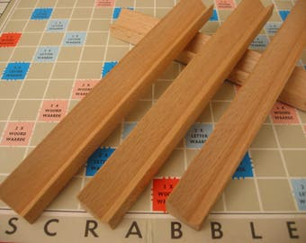 16 XL wooden scrabble tile racks for holding 10 scrabble letters