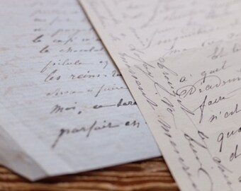 Digital Download - set two French Antique handwritten letters calligraphy jpg file, vintage letter, ephemera, antique script,scrapbooking