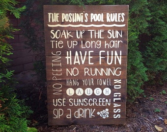 Pool Rules Wood Sign | White on Wood | Swimming Pool | Summer | Exterior Sign