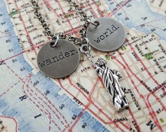"""Statue of Liberty, Pewter Travel Necklace. Wander the World, But Come Home to NYC! Typed Tags and Silver Lady Liberty,18""""Chain&Lobster Clasp"""