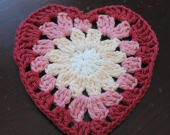 Pink, red and white crochet dishcloth