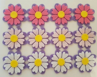 12 x Die Cut Felt Flowers, hair bows, hair clips, card making, scrapbooking, hairclips, general crafts, embellishments, card toppers, sewing