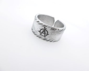 Anarchy Anarchist Adjustable Ring For him For Her, Civil Unrest, Handstamped gift idea, punk, rocker, goth, Symbol Silver Jewelry Thumb ring