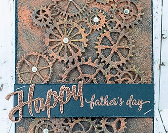 Masculine Steampunk Rusted Gears Happy Father's Day Card