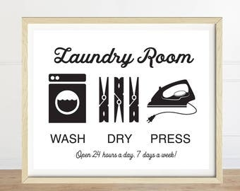 Laundry Room Sign, Wash Dry Press, Laundry Art, Black and White, Laundry Room Decor, Laundry Artwork, White Background