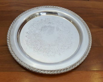 Antique Wm Rogers Silver Round Floral Etched Medium Serving/Buffet Tray