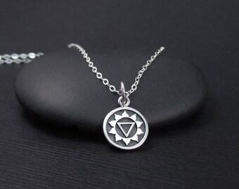 Solar Plexus Chakra Necklace, Sterling Silver Solar Plexus Necklace, Third Chakra Necklace, Chakra Jewelry, Yoga Jewelry, Yoga Gift