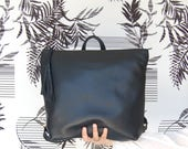 Black leather backpack, Metropolitan backpack, backpack for women, leather school bag, womens backpack, black leather bag