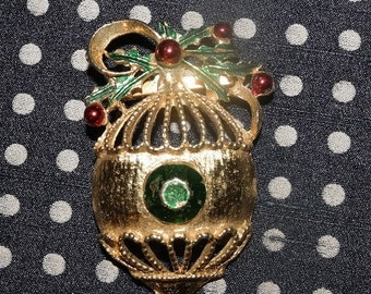 Vintage Christmas Ornament Pin Brooch with Holly Berries- Painted Metal - Festive for the Holidays- Great Stocking Stuffer!