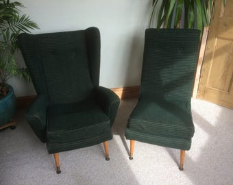 FAB RETRO pair 1950/60s Moquette chairs,one wingback,one armless. For re-upholstery ?