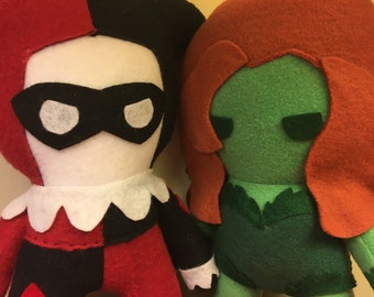 Harley Quinn and Poison Ivy DC Comics Fleece Plush Dolls