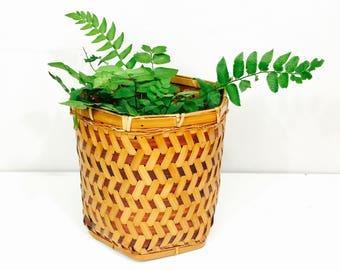 Vintage Chinese Hexagonal Planter Basket - Bamboo