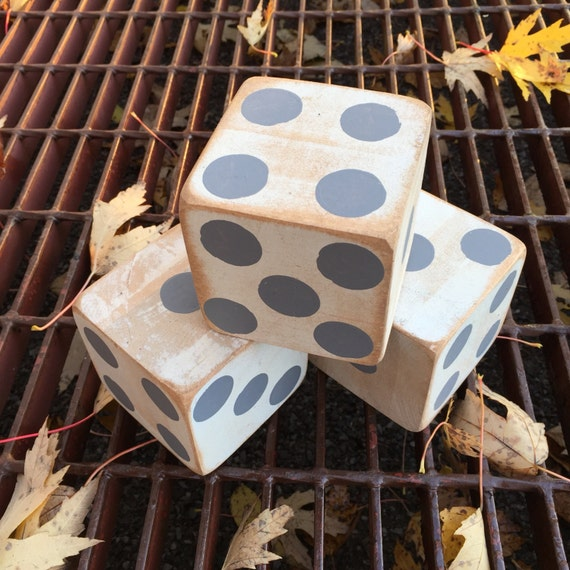 Home Made Modern Craft Of The Week 2 Rustic Christmas Stars: Primitive Dice Decor Large Dice Wooden Decor Lawn Dice