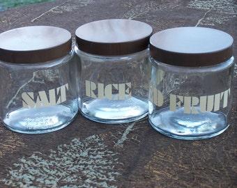 Vintage Storage Jars, 1970s, Made in England, Retro Kitchen, Glass Storage Containers,  Rice, Dried Fruit, Salt, Vintage Kitchen