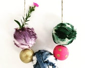 Handmade necklace, shibori dye balls, hand painted wood beads, silk dyed balls, made of recycled fabric, multi colored, unique necklace