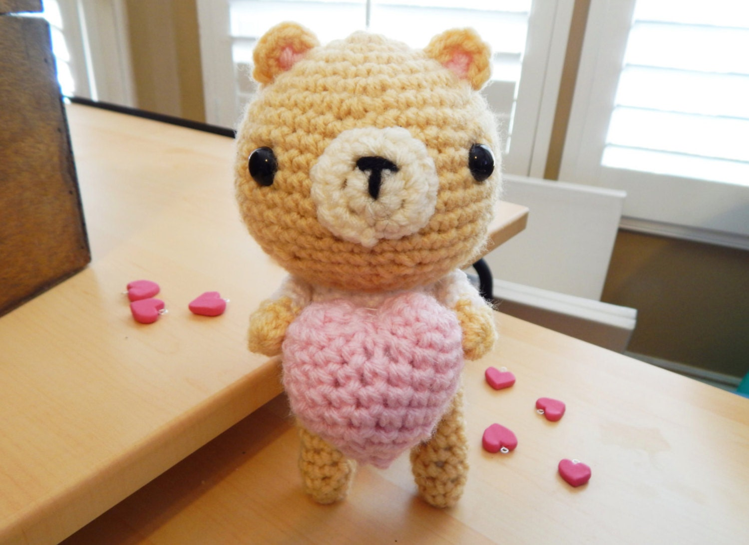 Amigurumi Bear with Heart Valentine Bear by BubblyTeaShop