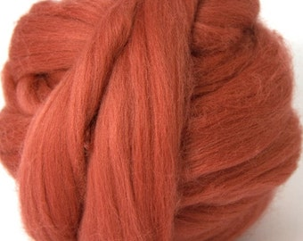 Merino Wool Combed Top/Roving by the Ounce or by the Pound - Terracotta