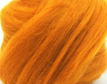 Merino Wool Combed Top/Roving by the Ounce or by the Pound - Burnt Orange